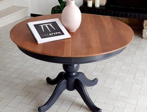 Relooking de la table ronde en merisier «MAÏWENN»