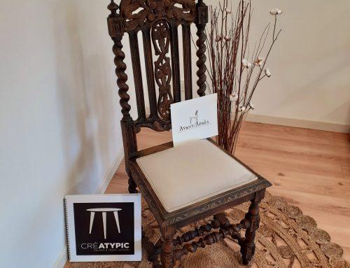 Relooking de la chaise sculptée » MORGANE»